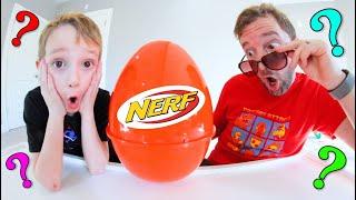 Father & Son OPEN GIANT NERF MYSTERY EGG! / Nerf Gun Mania!
