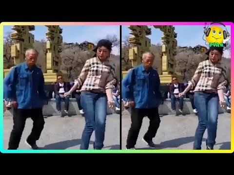 Chinese Grandfather Dancing with Granddaughter Shanghai