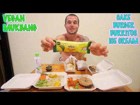 One Meal A Day Vegan MUKBANG - Burger, Burritos, Cake, Muffin, Durian Ice cream!
