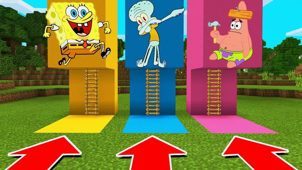 Minecraft Pe  Do Not Choose The Wrong Ladder  Spongebob  Squidward   U0026 Patrick