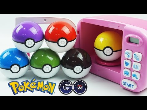 Learn Colors with Pokemon GO! Slime Clay Surprise Toys with Cooking Microwave Oven Playset