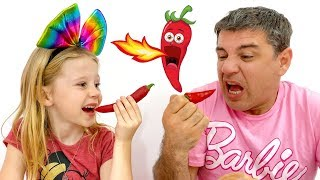 Stacy plays chocolate vegetables with dad in challenge