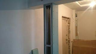 декоративная колонна из гипсокартона. Drywall installation.(просто колонна из гипсокартона. Нужна для разделения широкого входного проема. В получившемся узком промеж..., 2016-11-19T06:31:08.000Z)