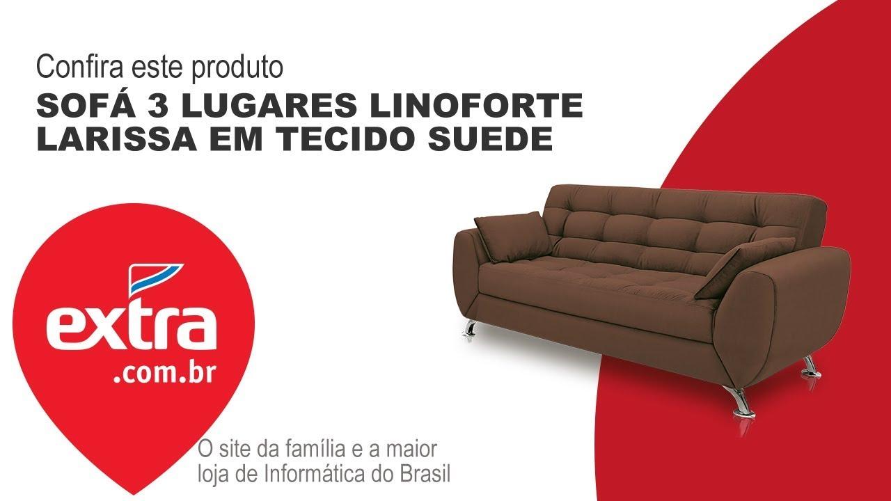 TEM NO EXTRA: Sofá 3 Lugares Linoforte Larissa em Tecido ...