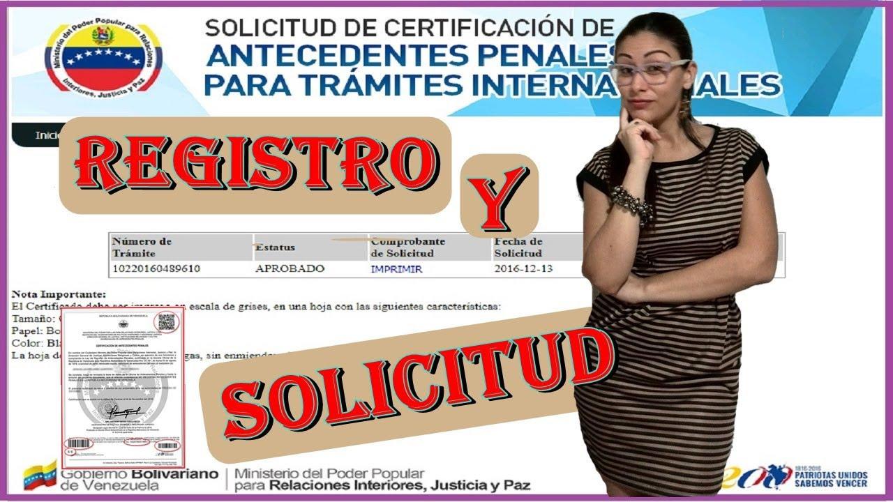 Registro Y Solicitud De Antecedentes Penales En Venezuela 2018 Algadina