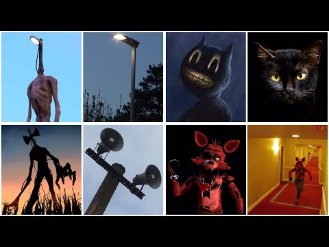 All Scary Characters In Real Life - Siren Head, Light Head, Cartoon Cat, Piggy, FNAF...