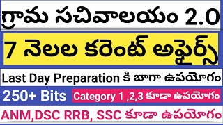7 months Current affairs For Sachivalayam Exams | Grama Sachivalayam Important Current Affairs