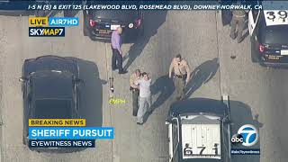 Pursuit involving multiple suspects end with PIT maneuver near Norwalk | ABC7