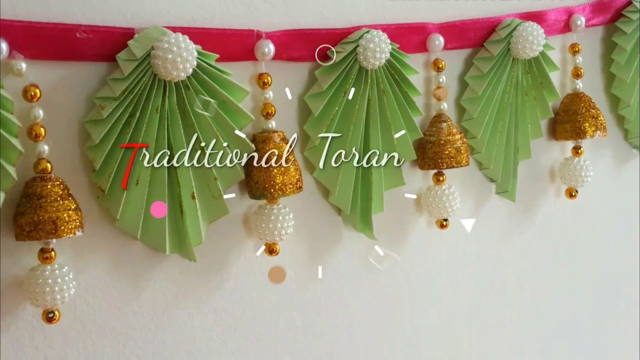 Diy trendy toran door hangings with paper at home diwali for Home decorations with paper
