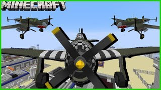 Minecraft - WORLD WAR 2 FIGHT PLANES | REINACT DOG FIGHTS IN THE AIR AND FIGHT OF AERIAL MOBS