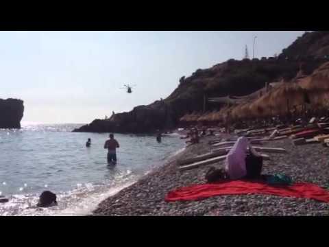British marine helicopter flying over Jalë - Albania