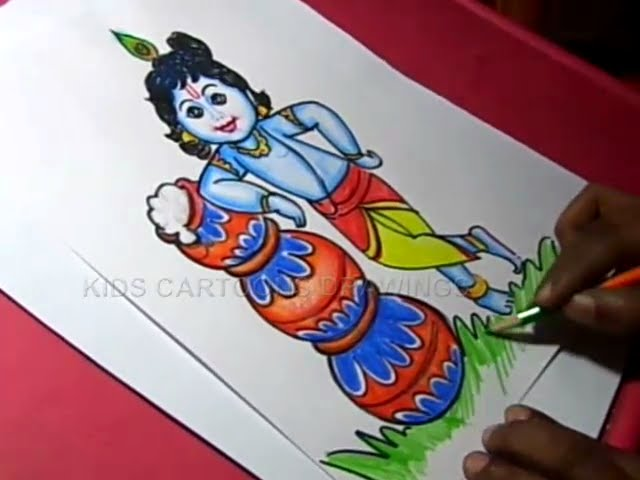 How To Draw Lord Little Krishna Color Drawing Step By Step Youtube
