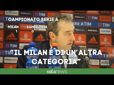 """Giampaolo: """"Milan ha meritato. Zapata ha sbagliato: doveva salutare il compagno""""."""