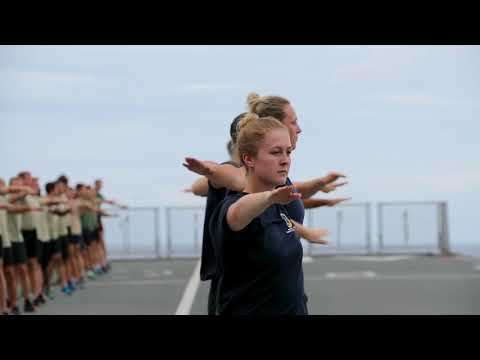 HMS Albion are NAVYfit | Flight deck physical training