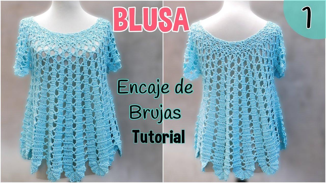 Patrón blusa amplia a crochet o ganchillo. Encaje de Brujas (1/2 ...