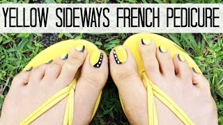 YELLOW SIDEWAYS FRENCH PEDICURE