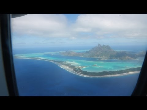 Flying from Tahiti to Bora Bora via Air Tahiti airlines