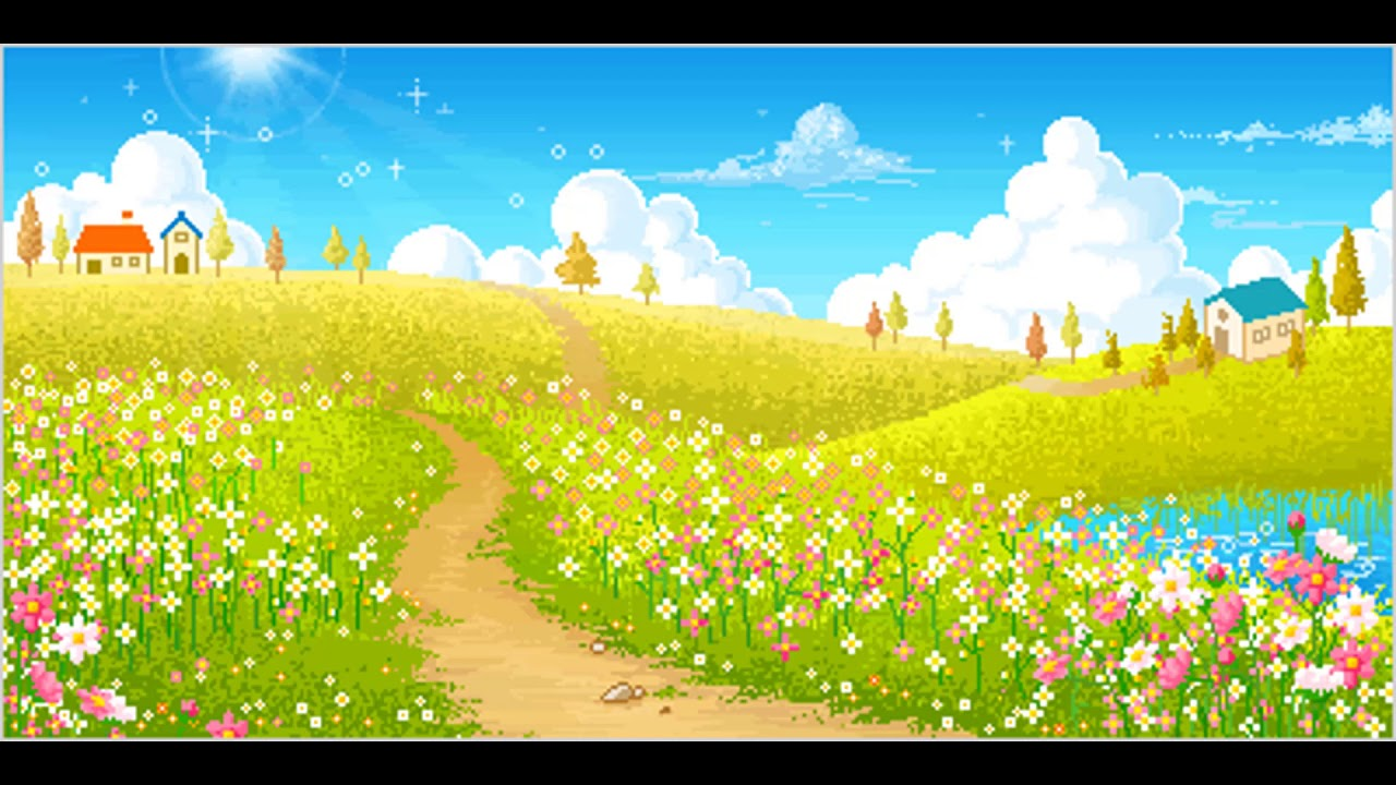 Цветочная поляна картинки анимации