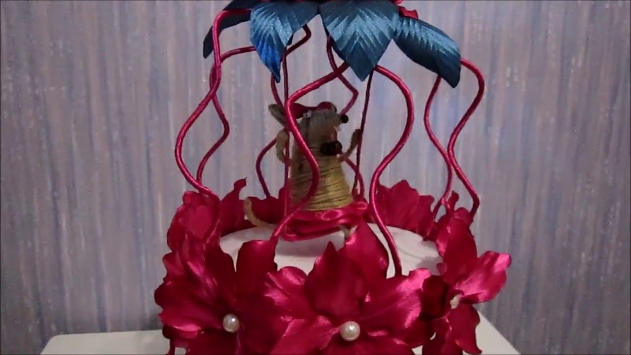 Цветочный топиарий из атласных лент и крыски. Крыска в клетке
