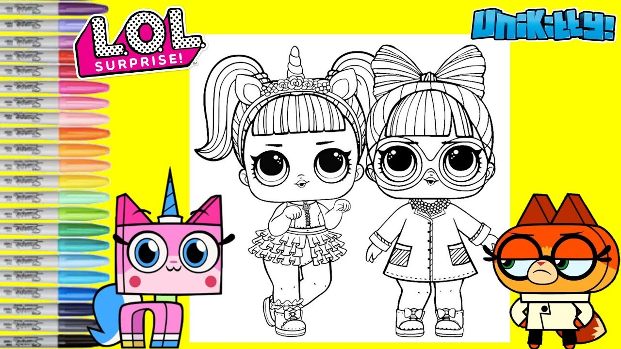Lol Surprise Dolls Repainted As Unikitty And Dr Fox Lol Surprise Coloring Book Page Youtube