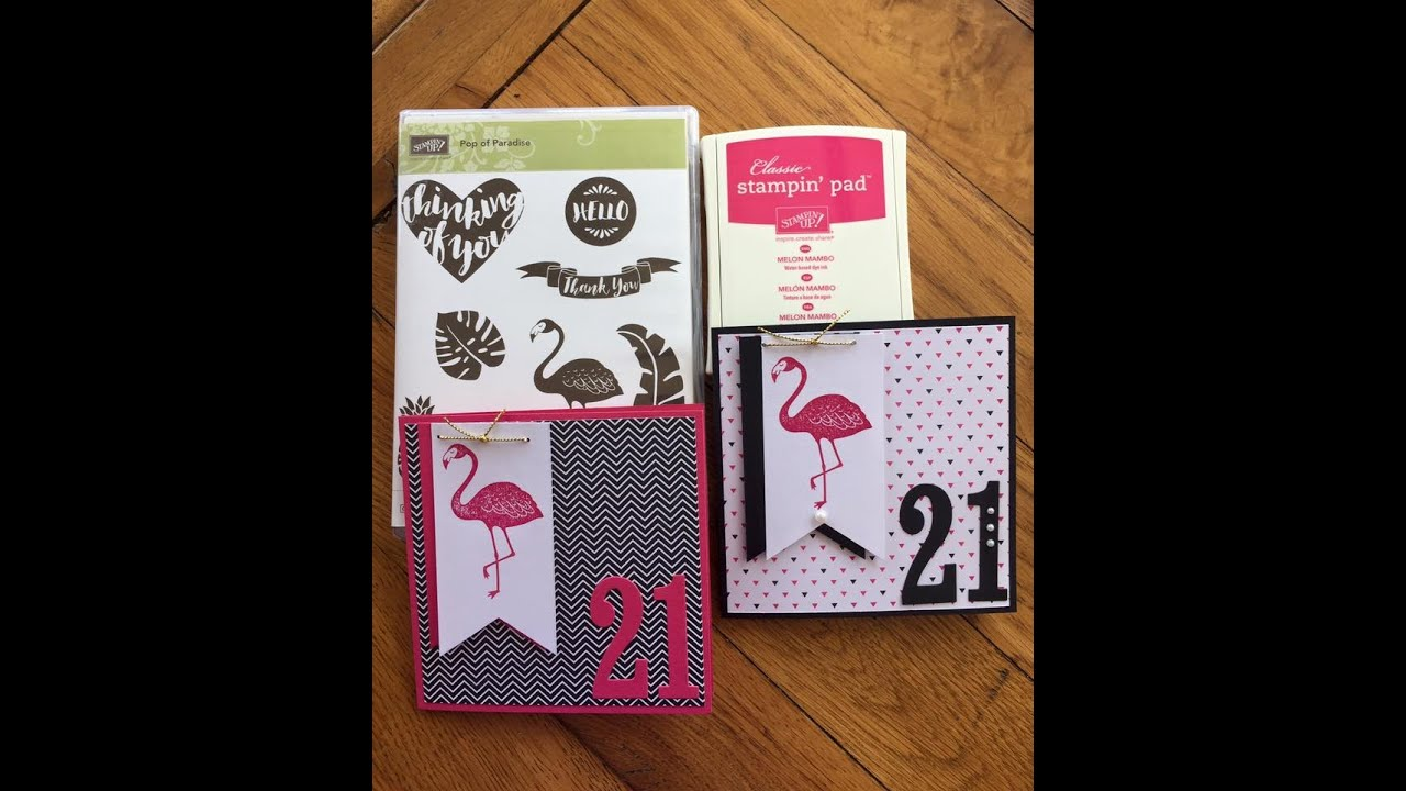21st Birthday Card Using Pop Of Pink Paradise Stampin Up