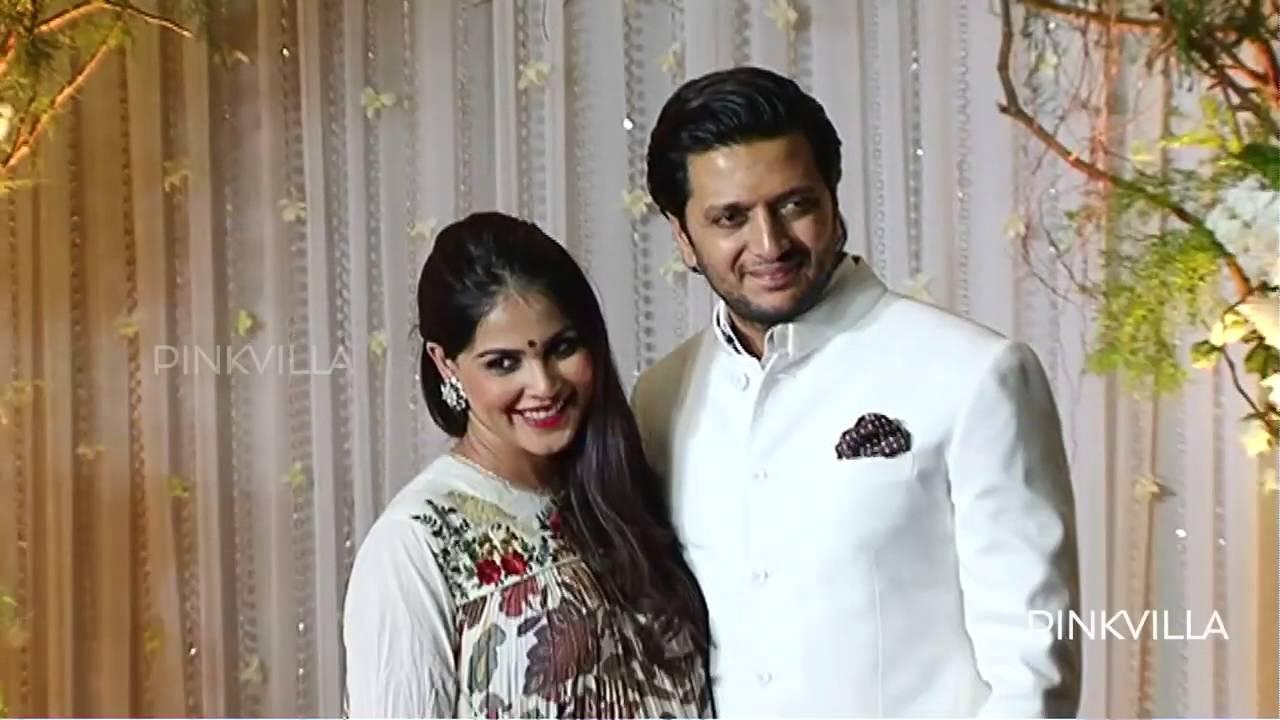 Riteish Genelia attend Bipasha Karan wedding reception - YouTube