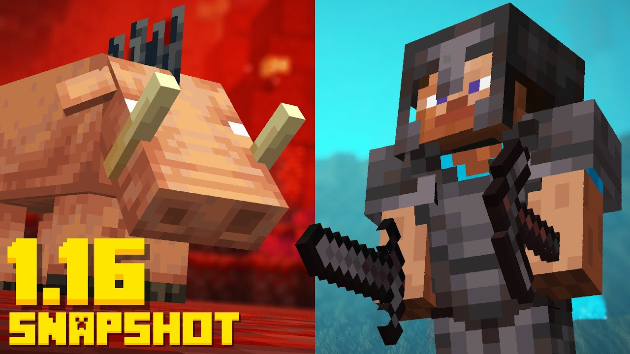 NEW Minecraft 1.16 Nether Update! Netherite / Hoglin Mob (20w06a Snapshot) thumbnail