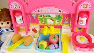 Hello kittty kitchen and baby doll food cooking toys play