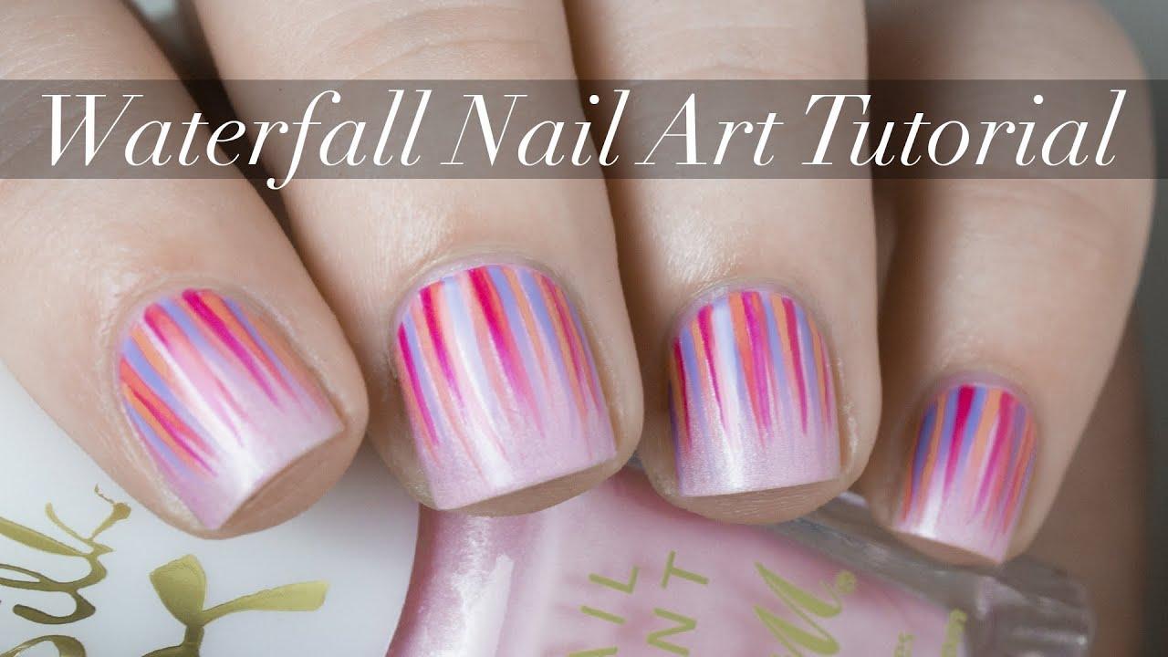Grassy Waterfall Nail Art: Waterfall Nail Art Tutorial