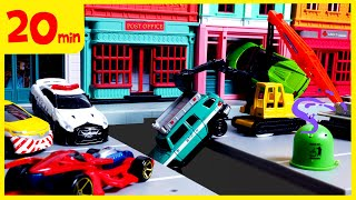 [20분] 토미카, 시쿠 경찰차 구급차 소방차 출동! 긴급출동 자동차 장난감 놀이 연속보기 thumbnail
