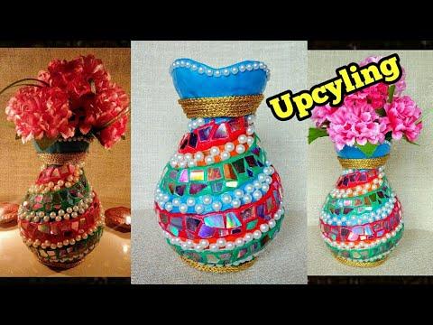 Upcyling Broken Flower Vase With Waste Cd And Plastic Bottle Craft