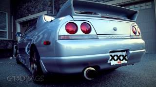 nissan skyline rb25det 5zigen turbo back exhaust   start up rev fly by