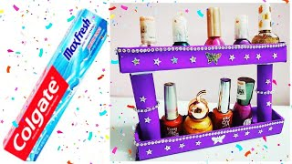 DIY with Colgate Box Organizer - Recycle Tooth Paste Box - Best Out of Waste Colgate box craft idea