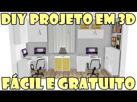 Como fazer projeto 3D grátis programa Mooble e Politorno - Mini Reforma Novo Ateliê #01- Especial 11