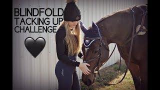 TACKING UP MY HORSE BLINDFOLDED!