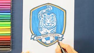 How to draw and color South Korea National Football Team Logo