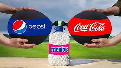 Experiment: the Balloons of Coca Cola & Pepsi VS a Bottle of Mentos. Cool reaction!