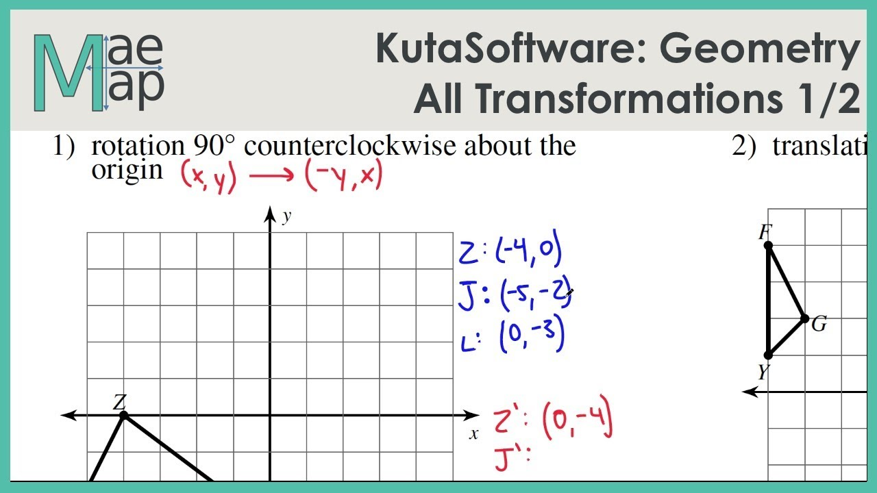 Worksheet 9 5 Composite Transformations Prep Kutasoftware Geometry