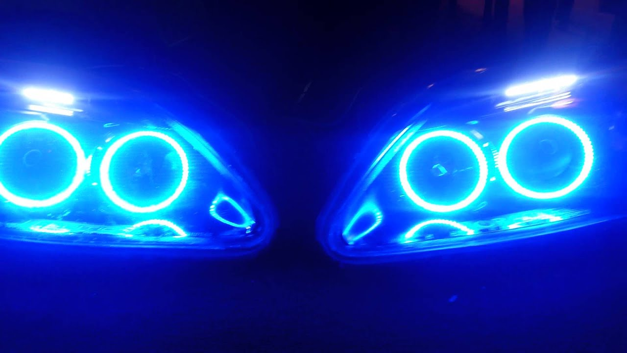 99 Quot Honda Civic Custom Blue Led Halo Headlights Youtube