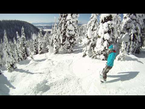 GoPro HD HERO Helmet Cam. Backside Powder Tree Run Whitefish Montana. Snowboarding