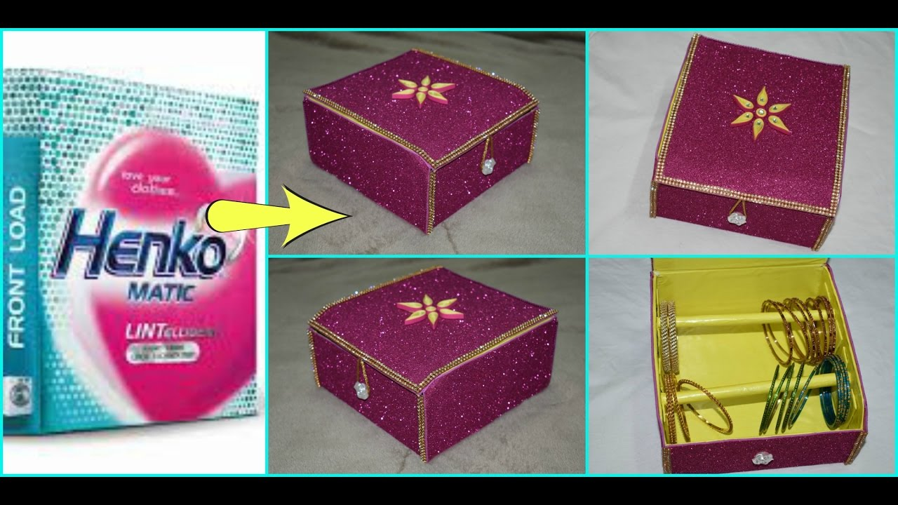 Diy how to make bangle box bracelet stand at home best out for Best out of waste ideas from bangles