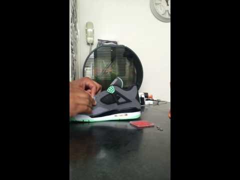 best service 2f7ea 2ae1d Air Jordan 4 retro green glow lace swap