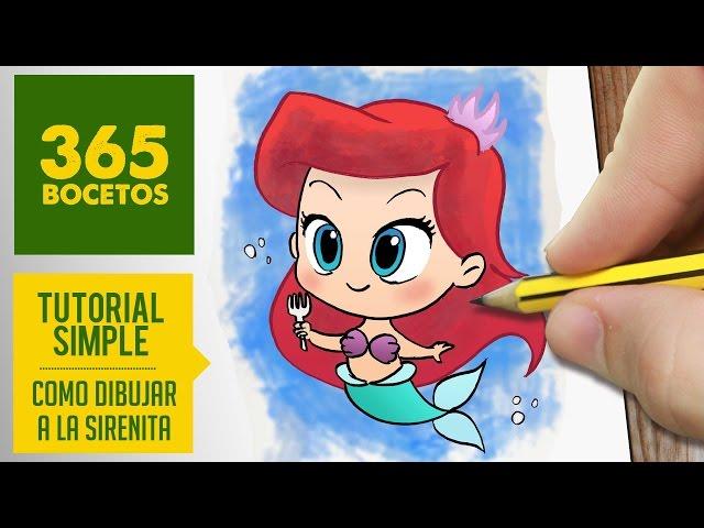 COMO DIBUJAR A ARIEL DE LA SIRENITA Dibujar princesas disney en español , dibujo kawaii