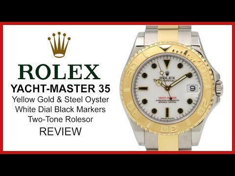 Rolex YACHT-MASTER 35: TwoTone yellow Gold/Steel, white/black Dial, Oyster - REVIEW 168623-WHT