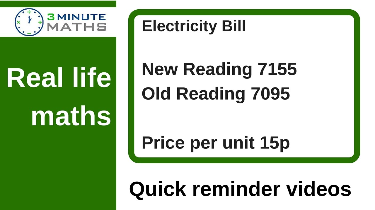 How To Solve Real Life Maths Problems Electricity Bill Question Youtube [ 720 x 1280 Pixel ]