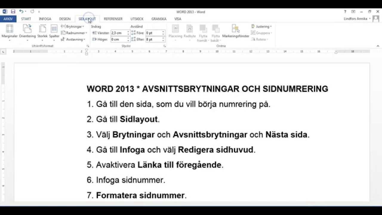 avsnittsbrytning word 2013