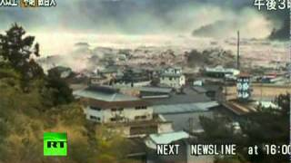 Japan Earthquake: Helicopter aerial view video of giant tsunami waves thumbnail