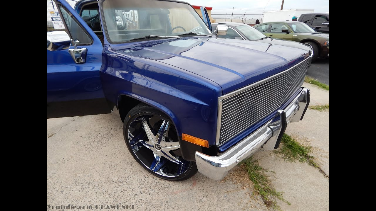 Candy Blue Shortbed Chevy Truck on DUB 26s with Matching ...