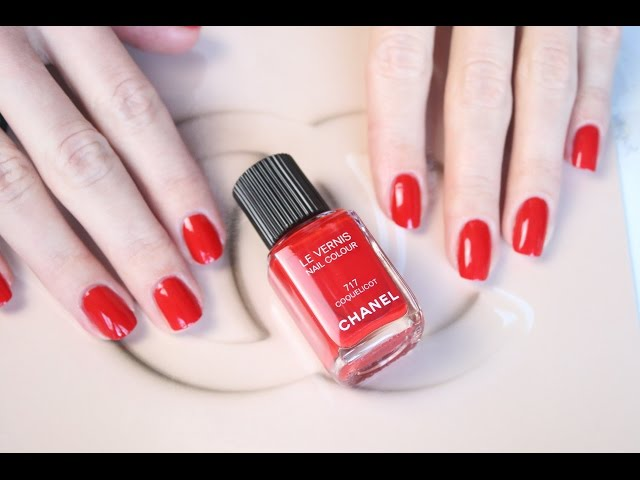 Chanel RED NAILS Le Vernis 717 Coquelicot - application and swatch ...