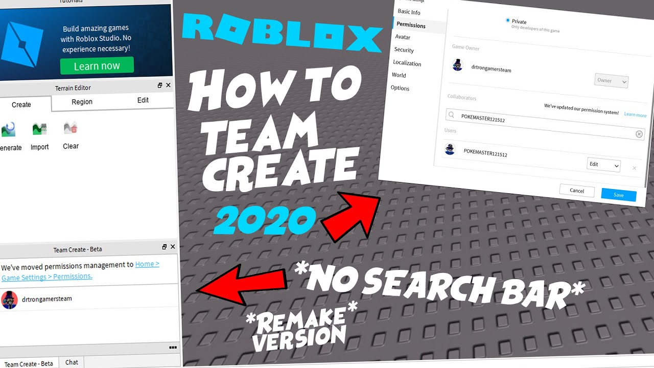 How To Team Create On Roblox 2019 Roblox Studio How To Team Create August 2020 Remake Youtube